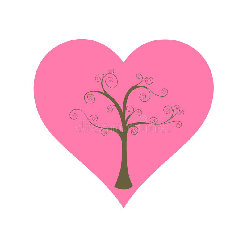 Tree and big heart stock images