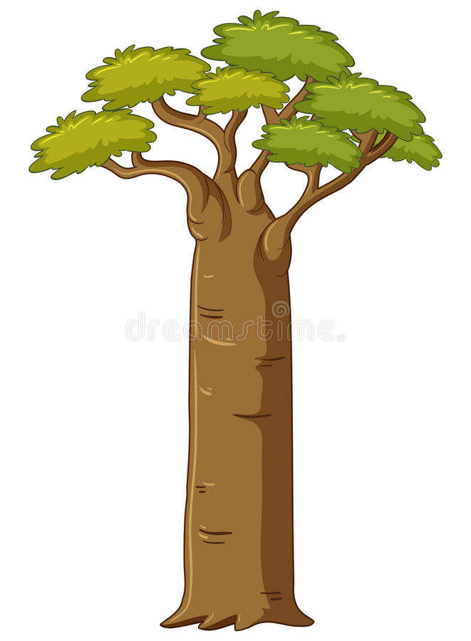 Tree with big trunk. Illustration royalty free illustration