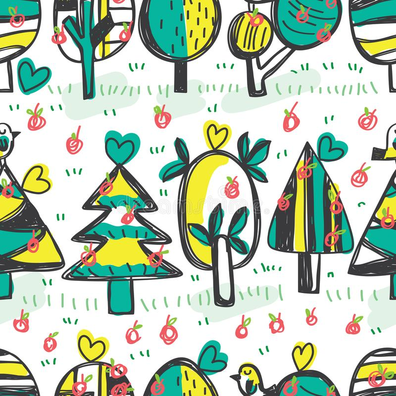 Tree bird apple horizontal free drawing seamless pattern. This illustration is abstract tree with bird and many apples in horizontal stylish drawing seamless on stock illustration