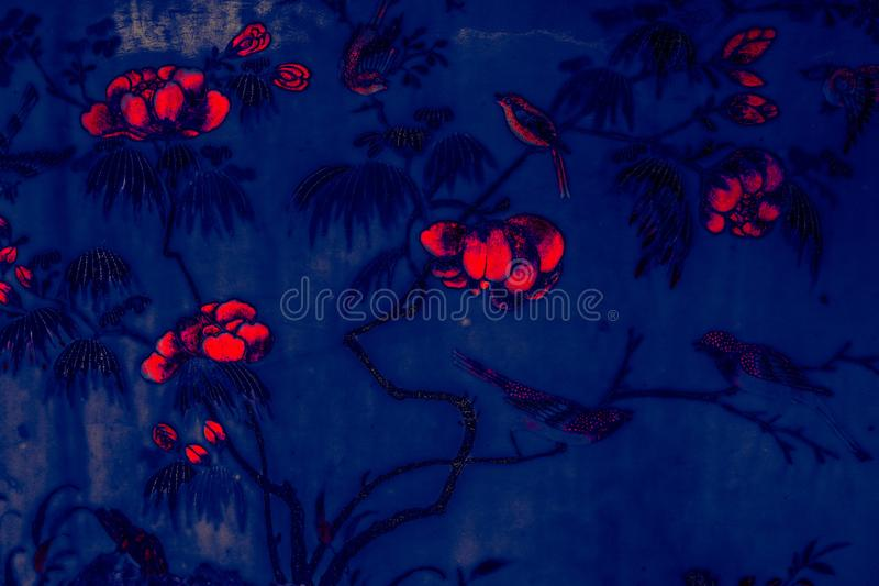 Tree bird and Flowers Art paintings on tile pattern wall and color black and white  isolated along the galleries of the Temple of stock photography