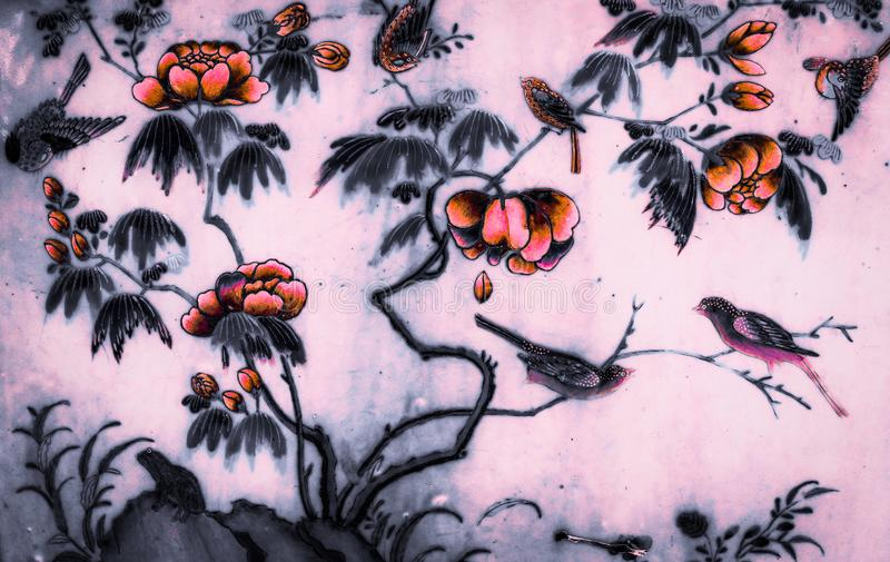 Tree bird and Flowers Art paintings on tile pattern wall and color black and white  isolated along the galleries of the Temple of royalty free stock image