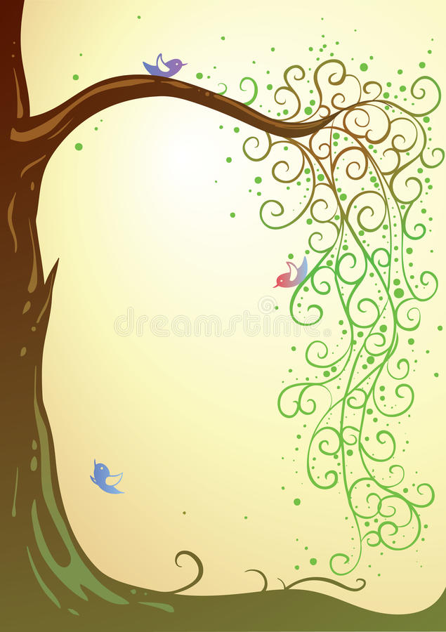 Tree and birds. Summer scene with tree and colorful birds with place for your text (AI8 with gradient royalty free illustration