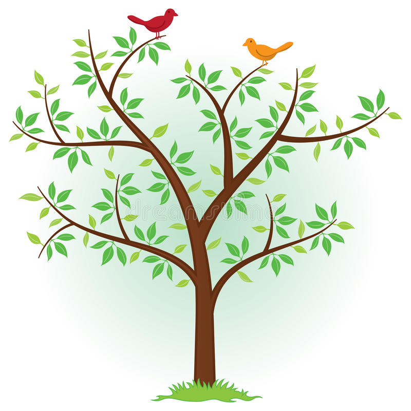 Tree with Birds. An illustration of a tree with birds perched in the branches