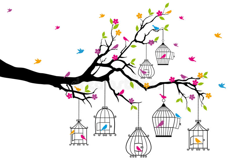 Tree with birds and birdcages, vector. Tree branch with birds and birdcages, vector illustration