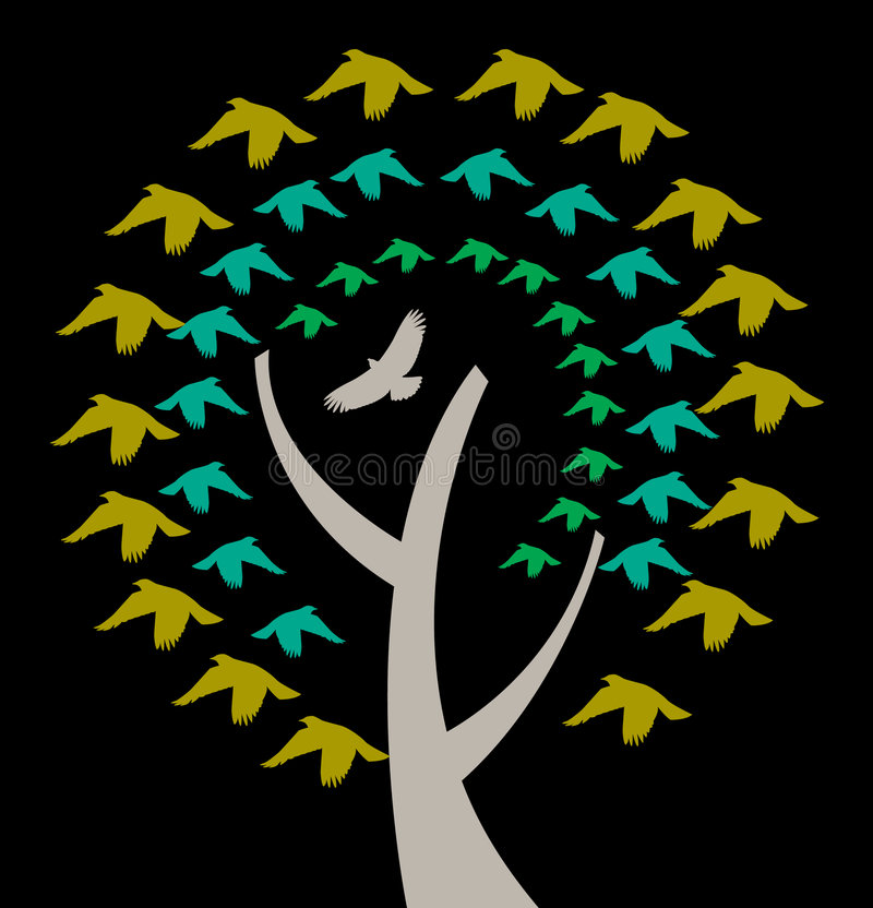 A Tree with Birds Circling. An illustration of a tree with birds circling around in a colorful pattern stock illustration
