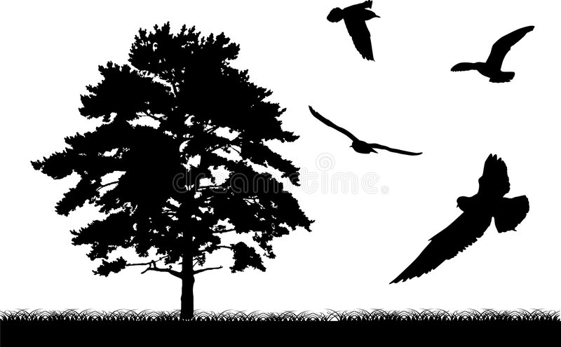 Tree and birds silhouette stock illustration