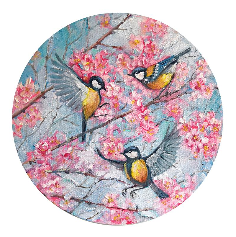 Tree birds titmouse on a branch of sakura cherry blossoms in the spring in the circle. Round shape. Oil Painting on canvas.. Original impressionism Hand drawn royalty free stock photography