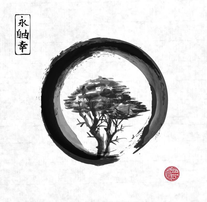Tree In Black Enso Zen Circle. Stock Vector