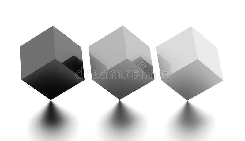 Tree black and white cubes business concept rendered stock photography