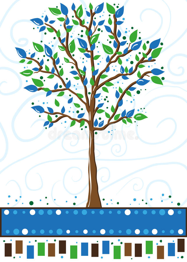 Download Tree In Blue And Green - Greeting Card Stock Illustration - Image: 17160225