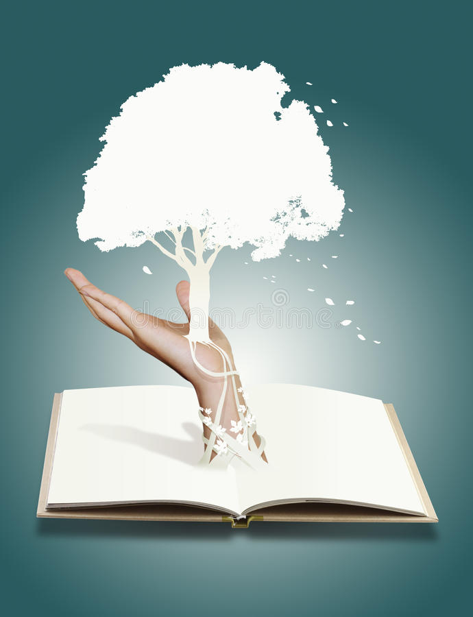 Tree of book .save tree concept. Paper cut royalty free stock photography