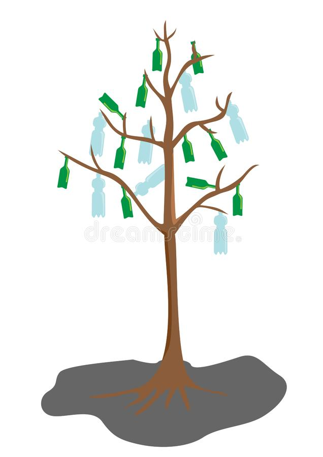 Download Tree with bottle leaves stock vector. Illustration of global - 9266559