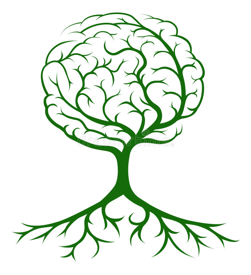 Tree brain concept. Brain tree concept of a tree growing in the shape of a human brain. Could be a concept for ideas or inspiration royalty free illustration