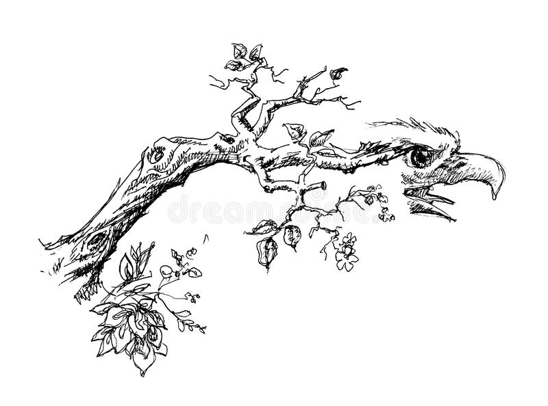 Tree branch with eagle head vector illustration