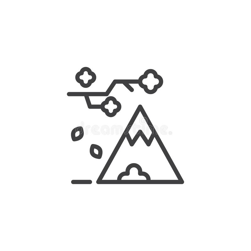 Tree branch with falling leaves and mountain outline icon. Linear style sign for mobile concept and web design. Autumn simple line vector icon. Symbol, logo vector illustration