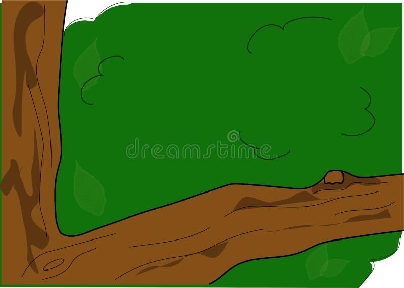 Tree branch green. Tree, horizontal branch royalty free illustration