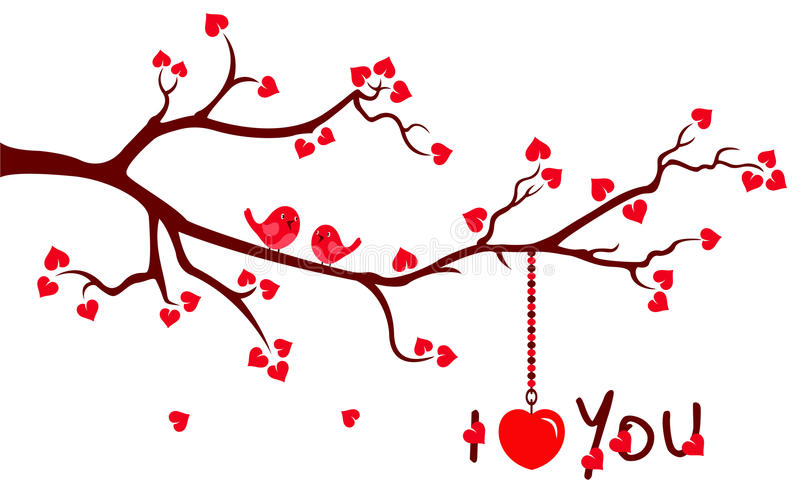 Tree branch with Love Hearts royalty free illustration