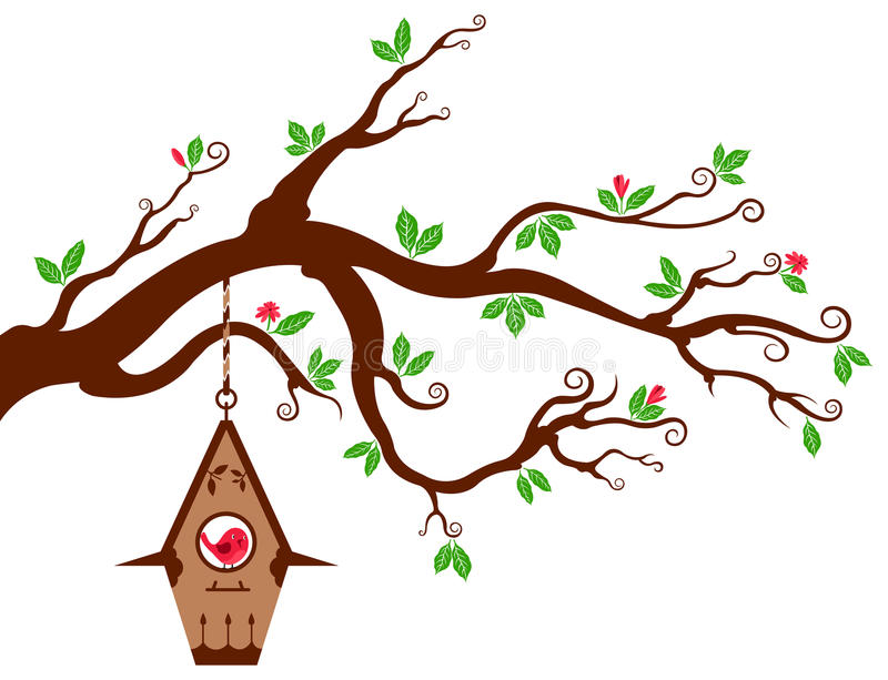 Download Tree Branch With Modern Birdhouse Stock Vector - Illustration of modern, leaf: 28757122