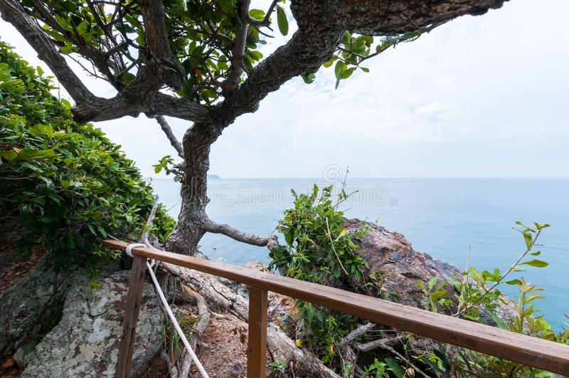 Tree branch and ocean, landscape of Laem Sing hill scenic point. Tree branch and ocean landscape of Laem Sing hill scenic point royalty free stock photo