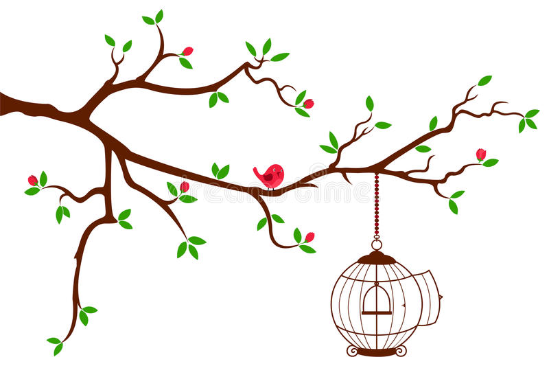 Tree Branch with rounded bird cage stock illustration