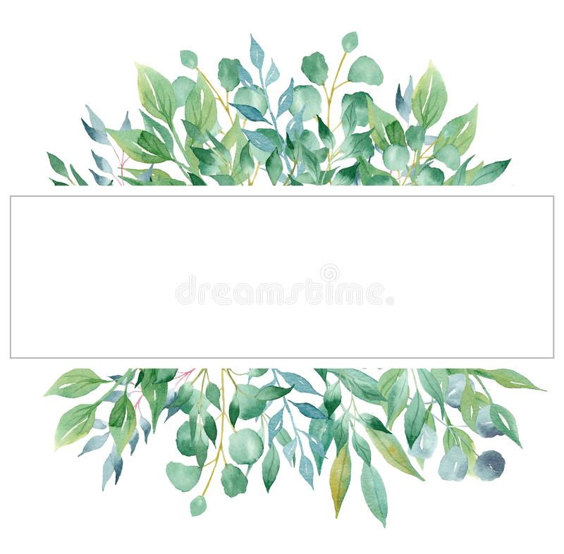 Tree branches aquarelle hand drawn raster frame template royalty free illustration