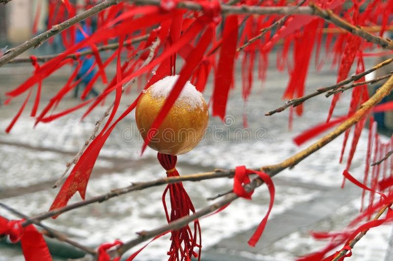 Tree branches decorated with red ribbons and Christmas balls royalty free stock image