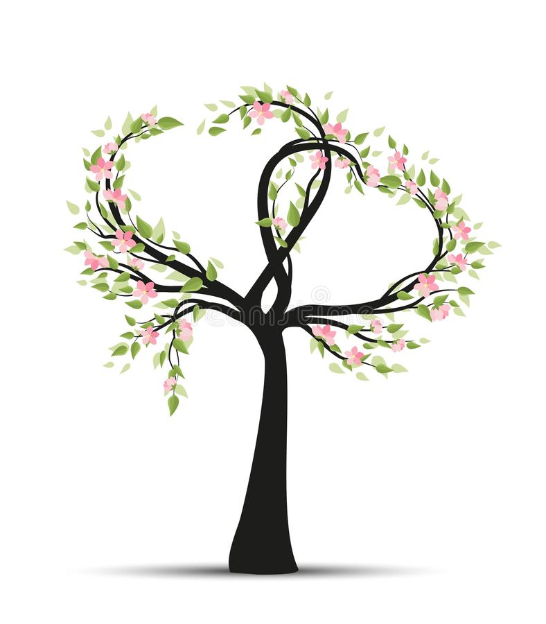 Tree with branches in heart shape royalty free illustration