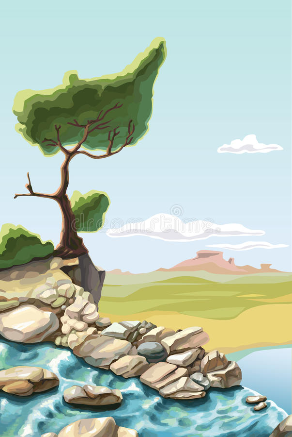 Tree on the brink of a precipice stock illustration