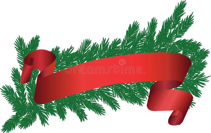 Tree brunch with red ribbon stock illustration