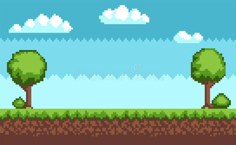 Tree Bush Pixel Style Vector Illustration Landscape. Tree and bush pixel style vector illustration landscape with sky grass and ground. Green plants for 2D game royalty free illustration