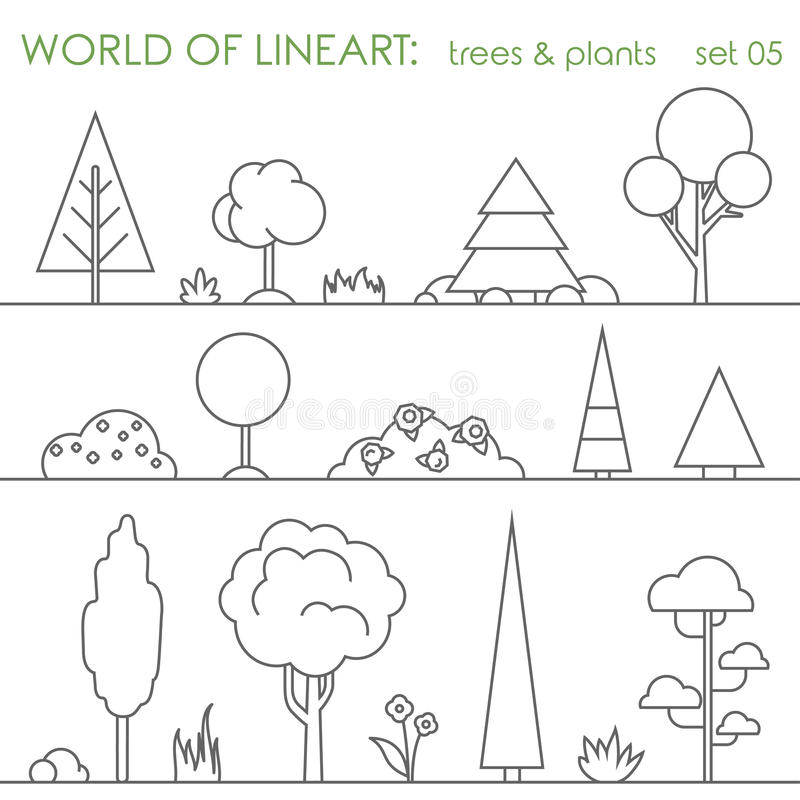 Free Tree Bush Plant Graphical Lineart Set. Line Art Vector Royalty Free Stock Images - 59050969