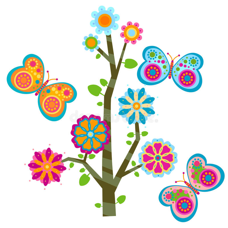 Tree and butterflies vector illustration