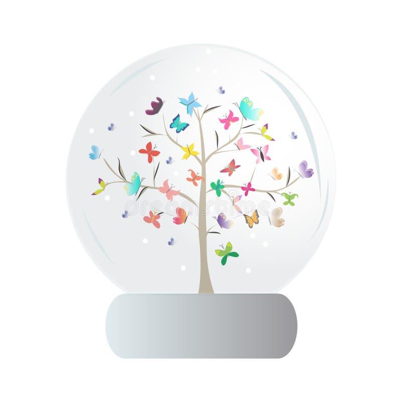 Tree butterflies snowglobe white background vector illustration