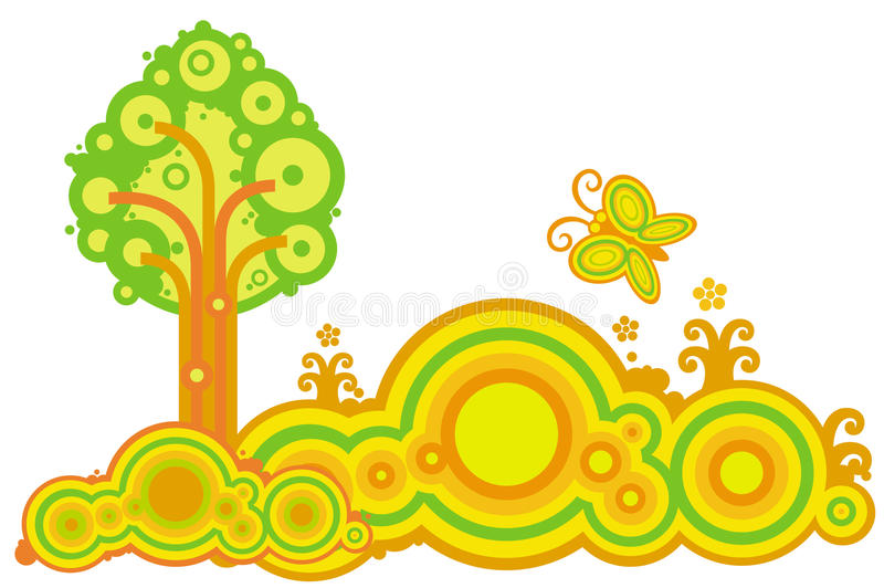Download Tree and butterfly stock vector. Illustration of tree - 10041364