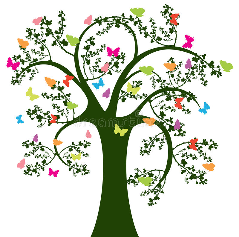 Download Tree and butterfly stock vector. Image of abstract, black - 13133117