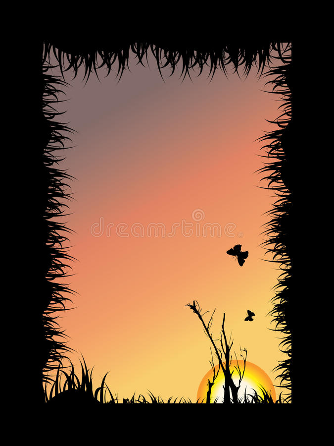 Tree and butterfly silhouette