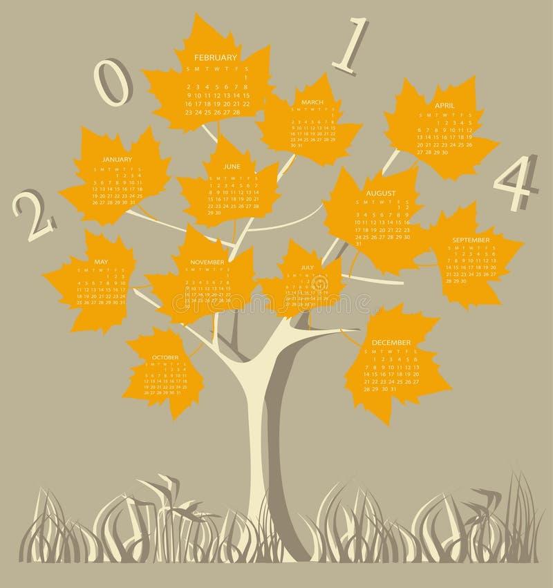 Tree calendar for 2014 year stock illustration