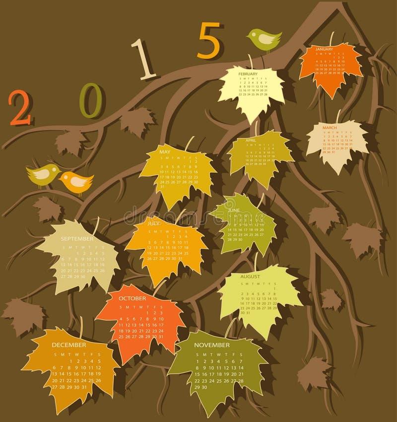 Tree calendar for 2015 year royalty free illustration