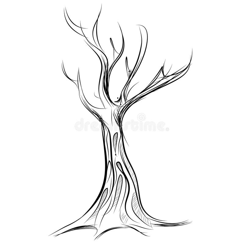 Tree Cartoon Icon Isolated On White Stock Vector