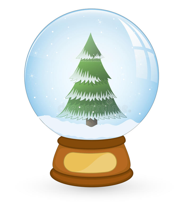 Tree In Christmas Snow Ball Stock Image