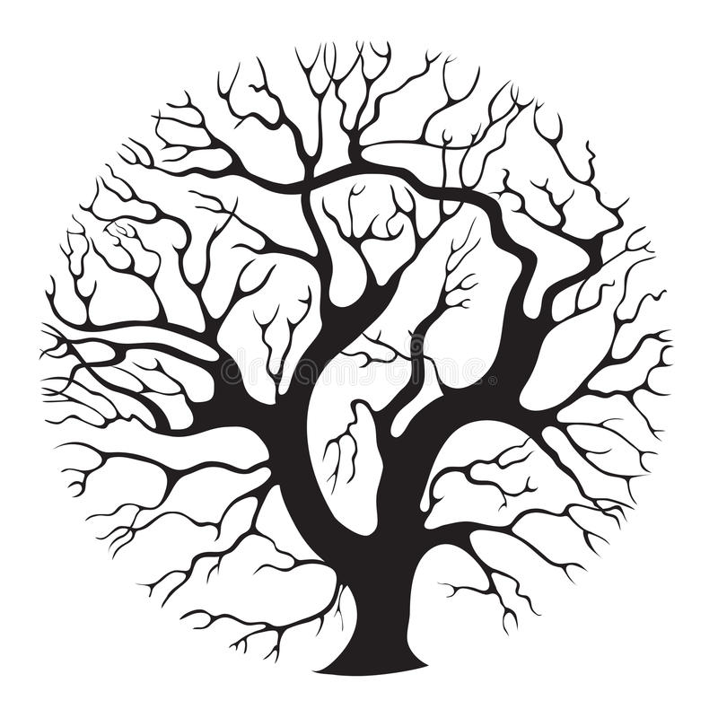 Tree-circle. Elegant stylised isolated tree silhouette