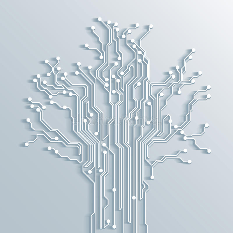 Tree circuit board abstract background - vector vector illustration