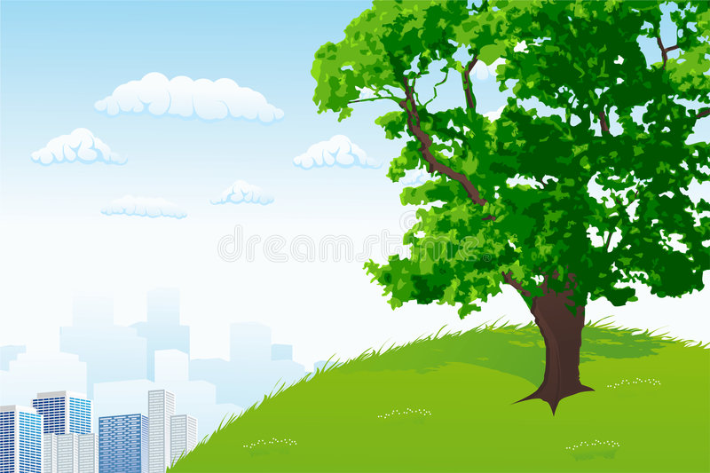 Tree with city panorama stock illustration