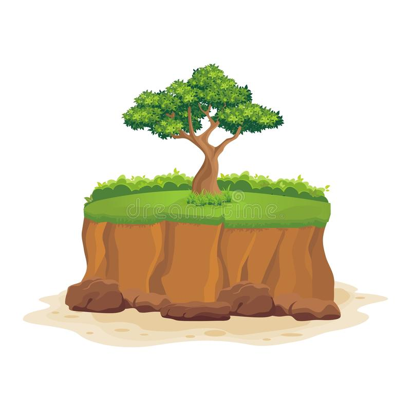 Tree on the cliff. With stone and green grass royalty free illustration