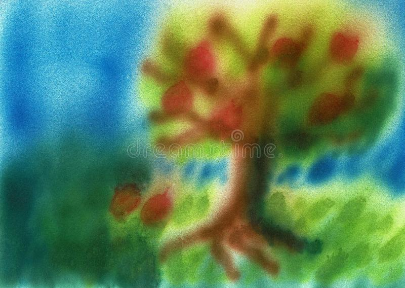 Tree Close to a Lake, Hand Sprayed Airbrush Painting. This is a hand sprayed airbrush painting with the title Tree Close to a Lake stock illustration