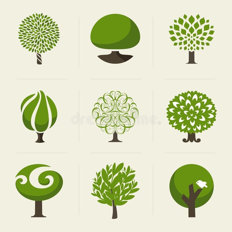 Free Tree. Collection Of Design Elements Royalty Free Stock Image - 32428346