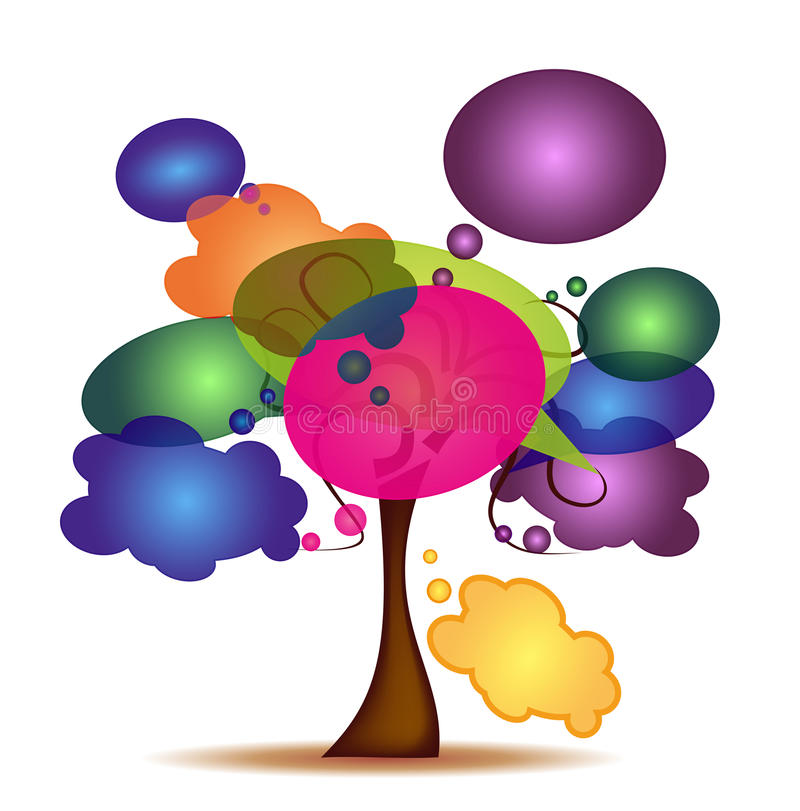 Tree with colorful cartoon vector illustration