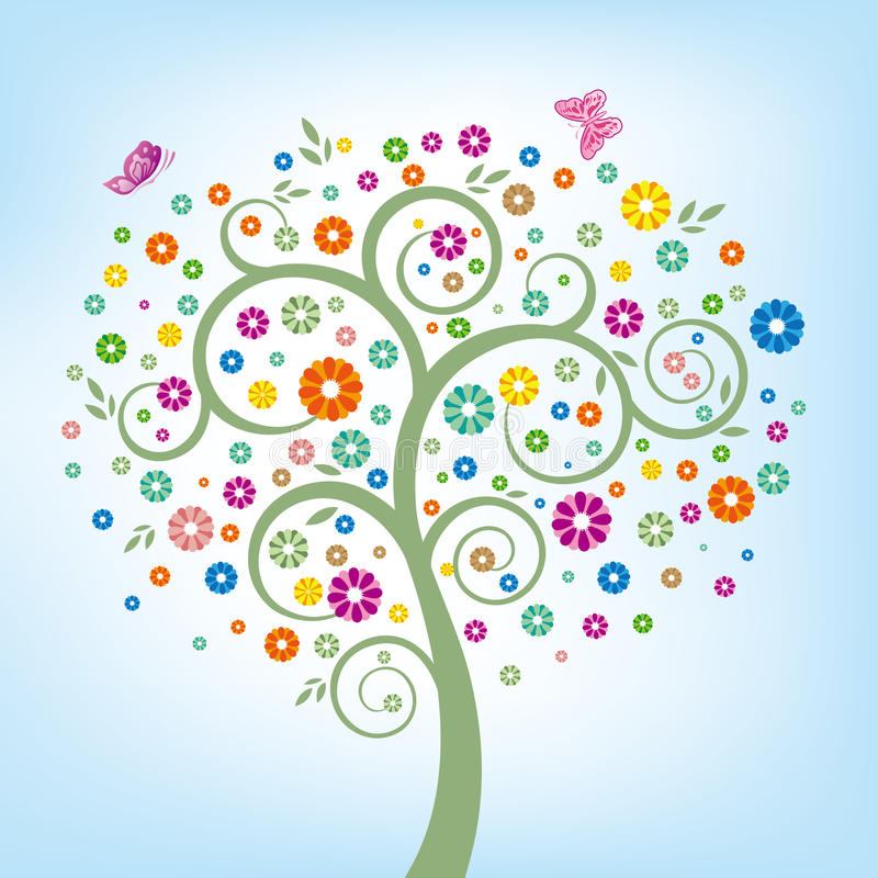Download Tree and colorful flower stock vector. Image of background - 15471928