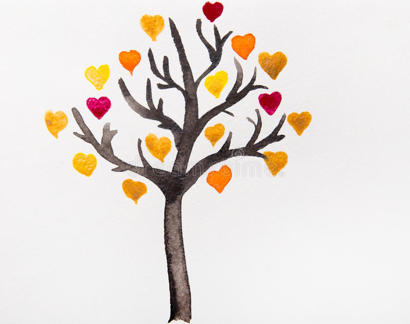 Tree with colorful hearts a watercolor stock illustration