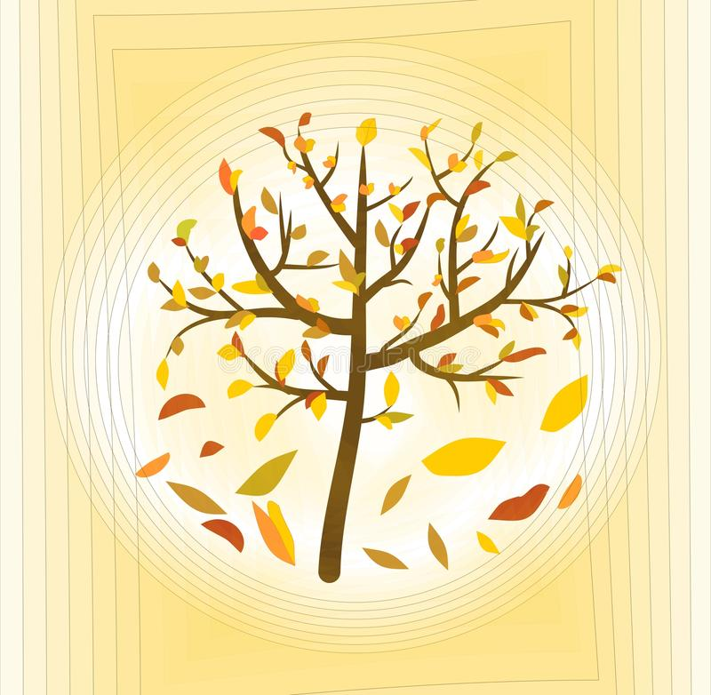 Tree with colorful leaves on a pale yellow abstract background, fine autumn theme vector illustration